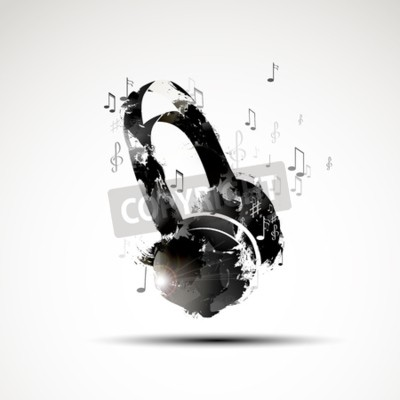 Canvas print Vector background abstract watercolor headphone