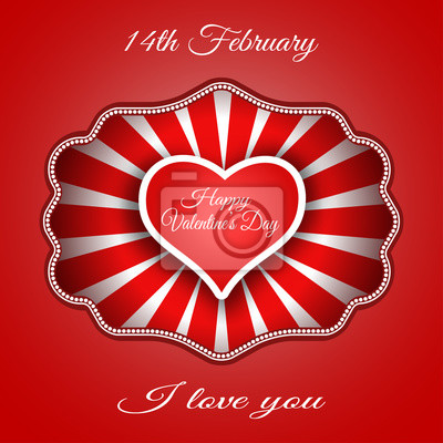 Vector background of Happy Valentine's Day with red heart cut from paper with shadow and red rays in frame.