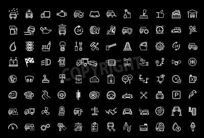 Canvas print vector black auto icons set