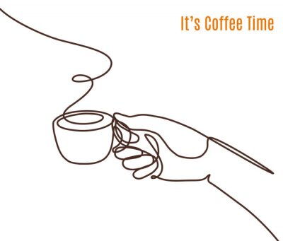 Canvas print Vector coffee illustration drawn with one line. Hand with a cup of coffee.