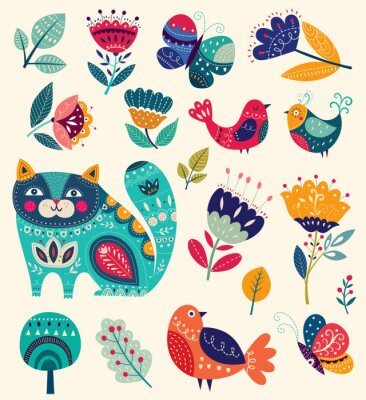 Canvas print Vector collection with flowers, decorative cat, butterfly and birds