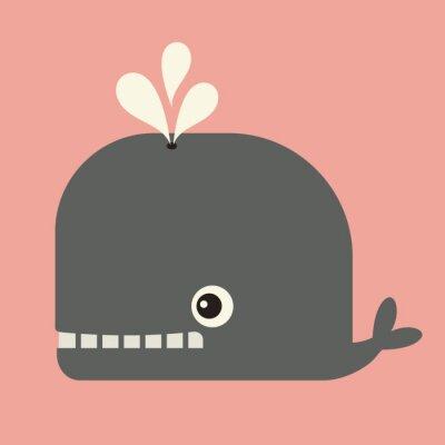 Canvas print vector cute whale