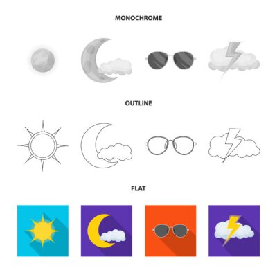 Vector design of weather and weather symbol. Set of weather and application vector icon for stock.