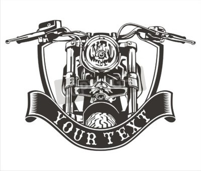 Canvas print vector design vintage motorcycle with a ribbon below