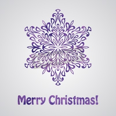 Vector Greeting Christmas Card with Watercolor Snowflake
