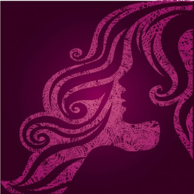 Vector grunge pink illustration of a girl with beautiful hair