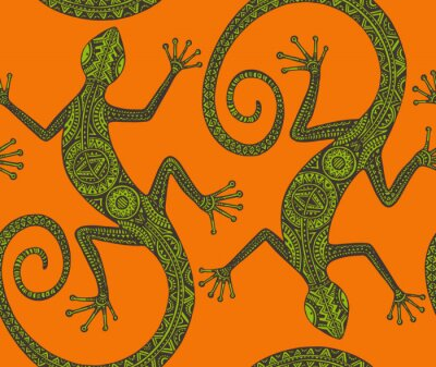 Canvas print Vector hand drawn seamless pattern with monochrome lizard or sal