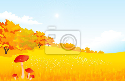 Vector illustration autumn rural landscape with meadow and