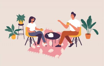 Canvas print Vector illustration couple sitting at the table, drinking tea or coffee and talking. Romantic date in a cafe.