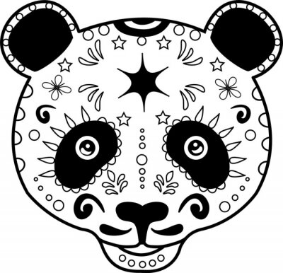 Canvas print vector illustration of a black and white panda's head