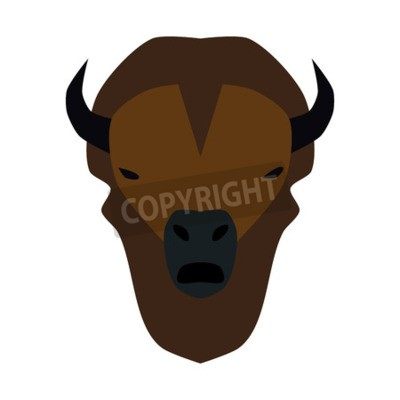 vector illustration of a simplified buffalo head isolated on white background.