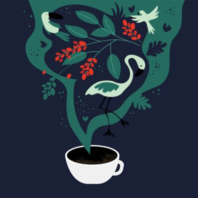 Canvas print Vector illustration of cup of espresso with fancy scent. The dreams about tropics, equatorial regions where coffee plants are cultivated. Template with toucan,flamingo, parrot for banner, poster,flyer