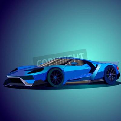 Canvas print Vector illustration of new blue sports car.
