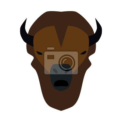 vector illustration of simplified buffalo head on white.