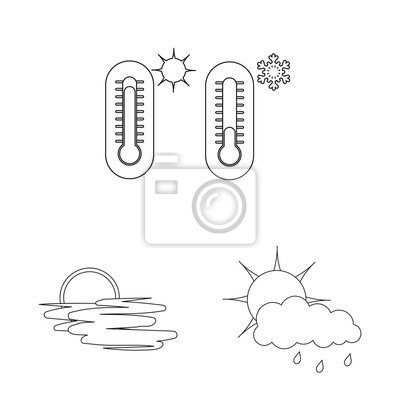 Vector illustration of weather and weather symbol. Set of weather and application stock symbol for web.