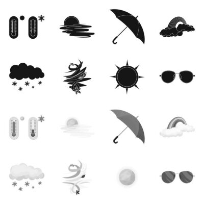 Vector illustration of weather and weather symbol. Set of weather and application stock vector illustration.