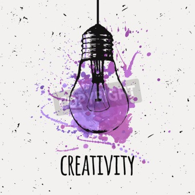 Canvas print Vector illustration with hanging grunge light bulb with watercolor splash. Modern hipster sketch style. Idea and creativity concept.