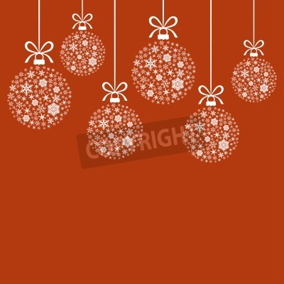 Vector illustrations of Christmas greeting card with decorative white balls of snowflakes hanging on ribbons on red background