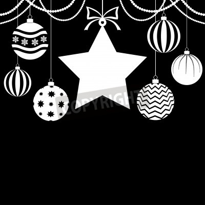 Vector illustrations of  Christmas greeting card with hanging balls and a star in the center on black background
