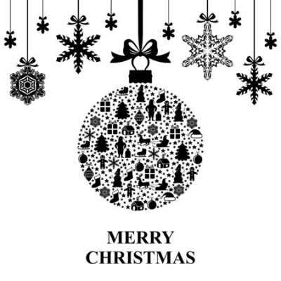 Vector illustrations of greeting Christmas card with ball and snowflakes hang