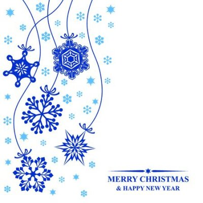 Vector illustrations of greeting Christmas card with hang decorative blue snowflakes