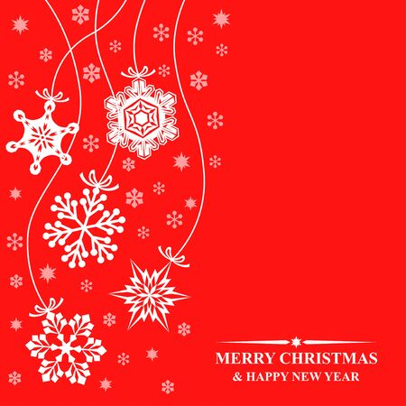 Vector illustrations of greeting Christmas card with hang decorative white snowflakes on red background
