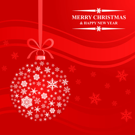 Vector illustrations of greeting Christmas card with snowflakes ball on red background