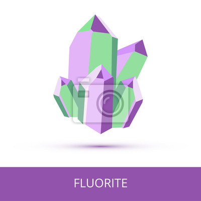Canvas print Vector mineralogy icon of calcium fluoride mineral – fluorite CaF2 from the mohs scale of mineral hardness. Violet or purple green crystalline stone or gemstone crystal isolated on a white background.