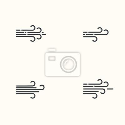 Vector modern flat design of wind icons set