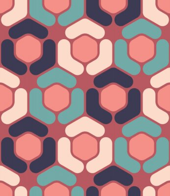 Canvas print Vector modern seamless colorful geometry hexagon pattern, color abstract geometric background, pillow multicolored print, retro texture, hipster fashion design