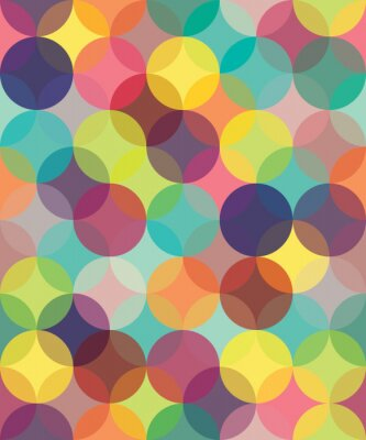 Canvas print Vector modern seamless colorful geometry pattern circles overlapping  , color abstract geometric background,wallpaper print,  retro texture, hipster fashion design,