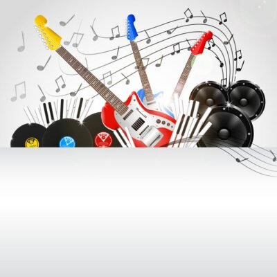 Canvas print Vector Music Background with Instruments and Music Equipment
