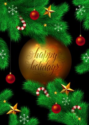 """Vector New Year and Christmas background. Fir tree branches decorated with christmas ornaments, stars, candy canes and snowflakes. Big gold christmas ball isolated on black with """"Happy holidays"""" text."""