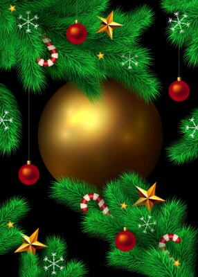 Vector New Year and Christmas background. Fir tree branches decorated with christmas ornaments, stars, candy canes and snowflakes. Big gold christmas ball isolated on black with place for your text.