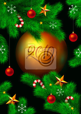 Vector New Year and Christmas background. Fir tree branches decorated with christmas ornaments, stars, candy canes and snowflakes. Big gold christmas round ball with - 2019 calligraphy text.