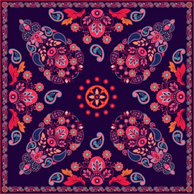Canvas print Vector Paisley floral square design