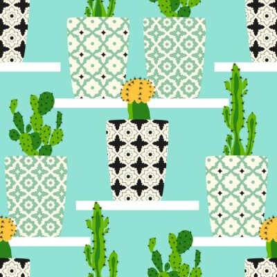Canvas print Vector pattern with cacti. Cute cactus flowers in ornamental pots. Hand drawing illustration.