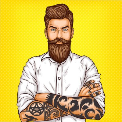 Canvas print Vector pop art illustration of a brutal bearded man, macho with tatoo folded his arms over his chest