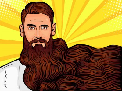 Canvas print Vector pop art illustration of a brutal bearded man, macho with very long beard over all image