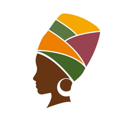 Canvas print Vector profile of african woman with hat