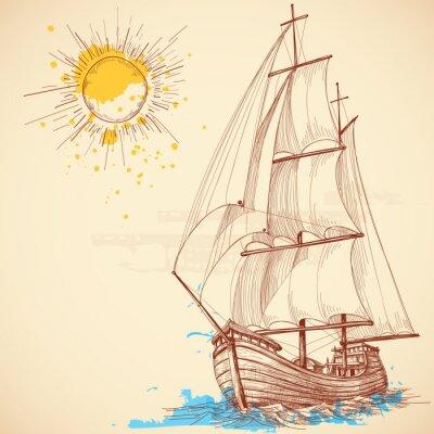 Canvas print Vector sailing boat