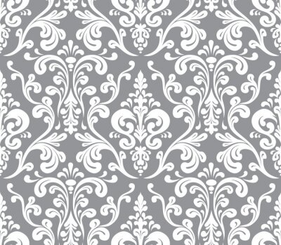 Canvas print Vector. Seamless elegant damask pattern. Grey and white