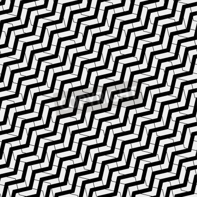 Canvas print Vector seamless pattern. Modern stylish texture. Repeating geometric tiles with volume diagonal zigzag - stock vector