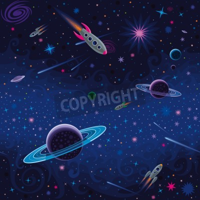 Vector seamless space pattern with various cosmic elements.