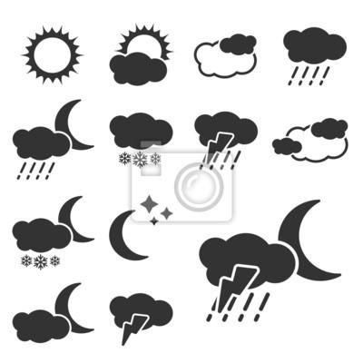 Vector set of black weather symbols - sign, icon