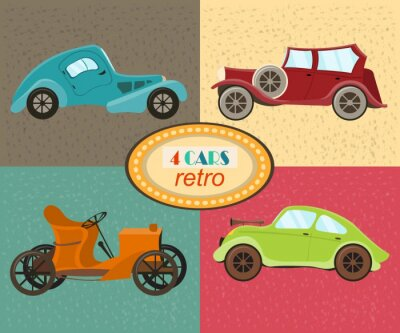 Canvas print Vector set of four retro cars. Urban traffic vehicles. Icons featuring modern and retro automobiles, old fashioned vintage car. Multicolored retro cars. Isolated. Vector illustration