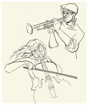 Canvas print Vector sketch of musicants.