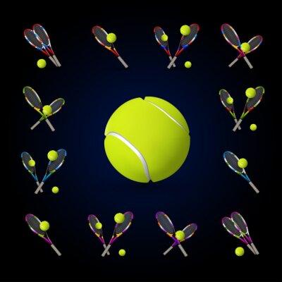 Canvas print Vector tennis symbols as design elements, tennis balls, tennis r