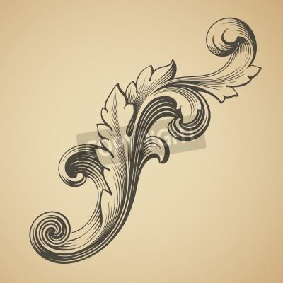 Canvas print vector vintage Baroque design frame pattern element engraving retro style