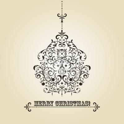Vector Vintage Christmas Greeting Card with Fir Tree Ball